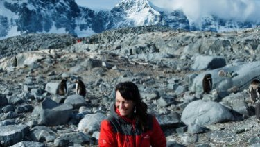 Scientists like Professor Mary-Anne Lea, (shown here with gentoo penguins), say it's still possible to prevent emperor penguins becoming functionally extinct within 100 years.