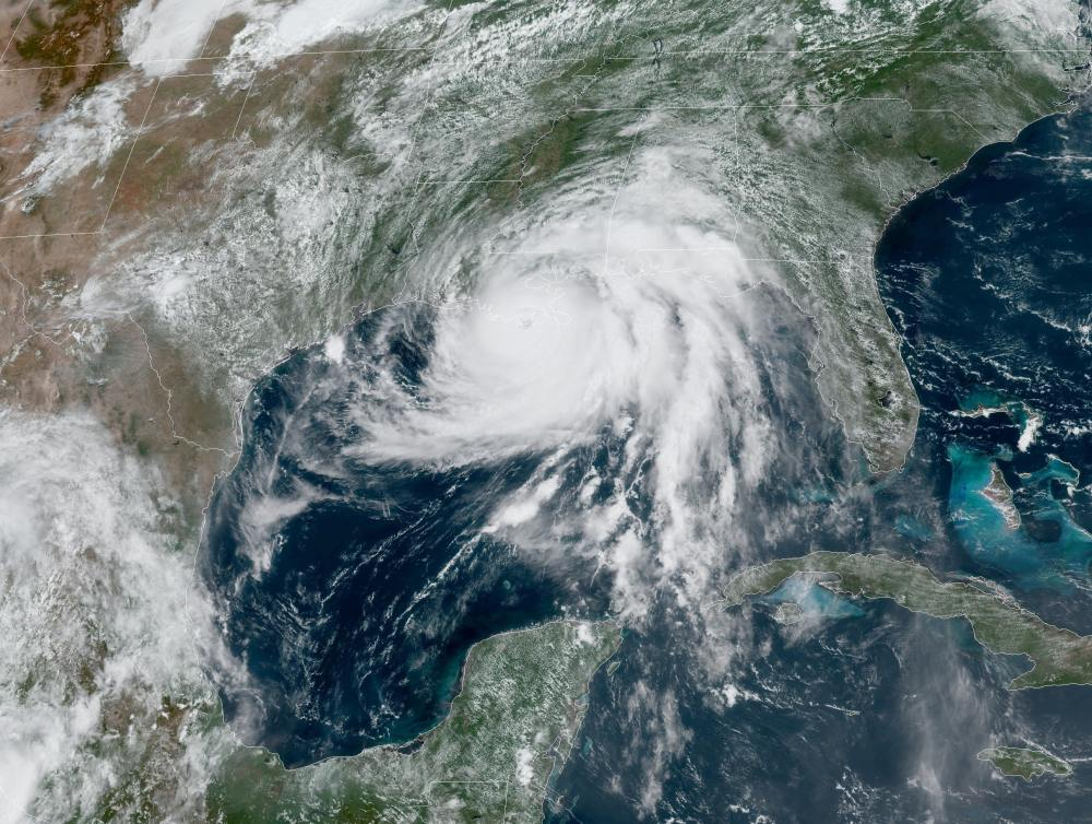 Hurricane Ida; A satellite view of the hurricane over the Gulf of Mexico and coast.