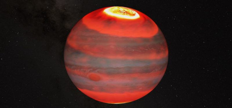 Jupiter's energy crisis: Orb with white at top and orangish red bands and faint swirly features.