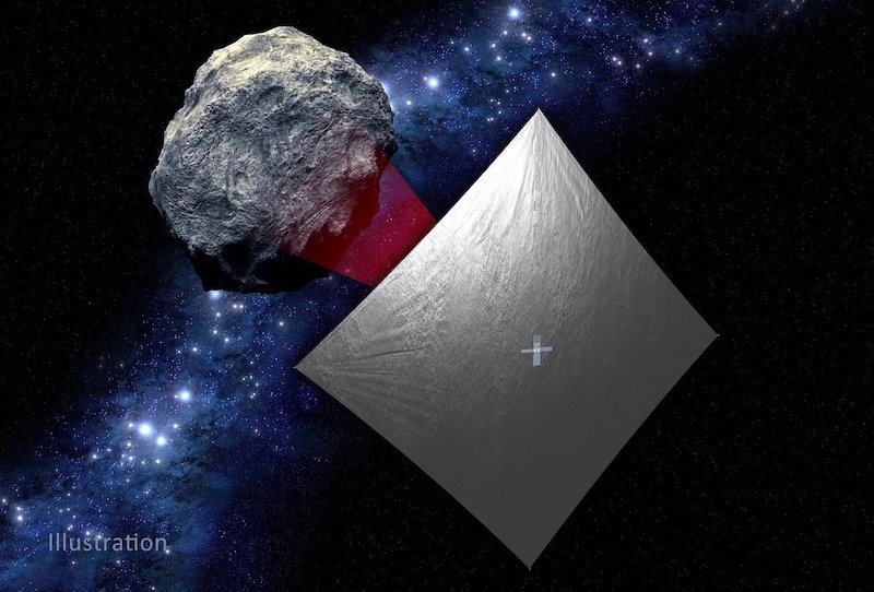 A large, silver square film near a rock floating in space with stars behind them.