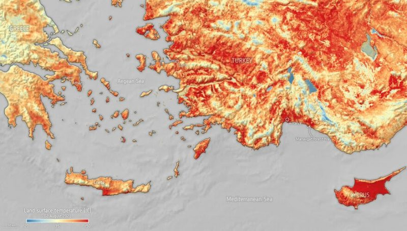 Mediterranean heatwave: A map showing Turkey, Greece and Cyprus, with red and yellow coloring indicating high heat.