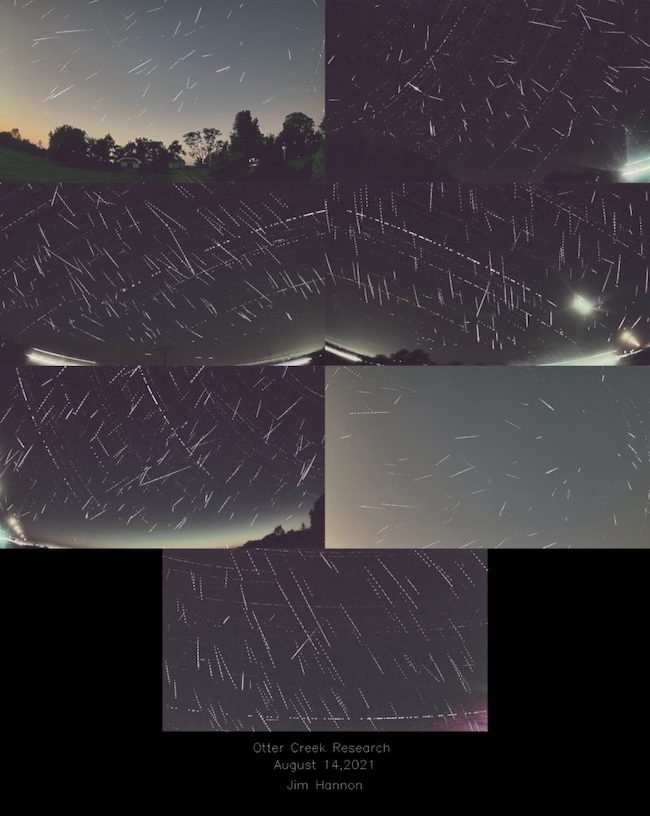 Seven photographs showing different skies with many thin white streaks across them.