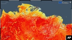 This photo taken on Friday, June 19, 2020 and provided by ECMWF Copernicus Climate Change Service shows the land surface temperature in the Siberia region of Russia. A record-breaking temperature of 38 degrees Celsius was registered in the Arctic town of