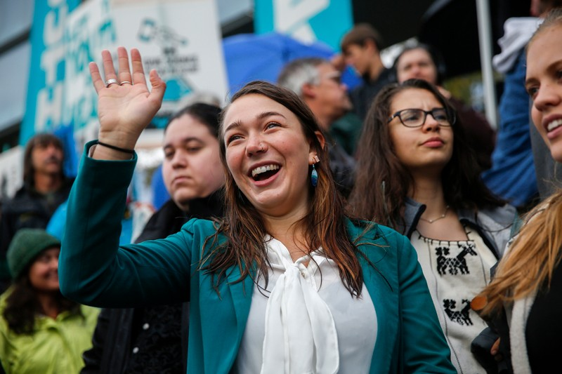 Kelsey Juliana photographed in 2018, attends a rally with other plaintiffs in climate change lawsuit Juliana vs. US