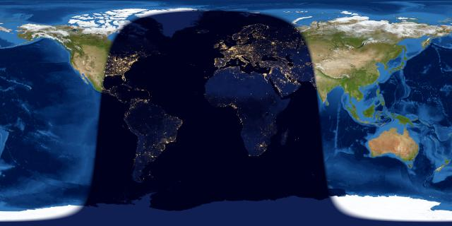 Worldwide map of day and night sides of Earth with night covering area from half of North America to east of Europe.