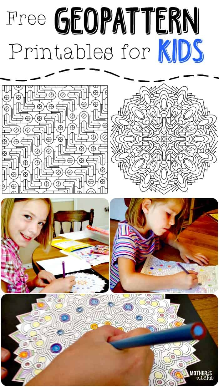 GEOPATTERN Coloring Printable for