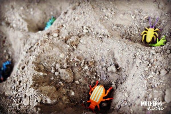 Sensory activities with plastic bugs