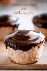 Banana Cupcake Recipe with Nutella Ganache