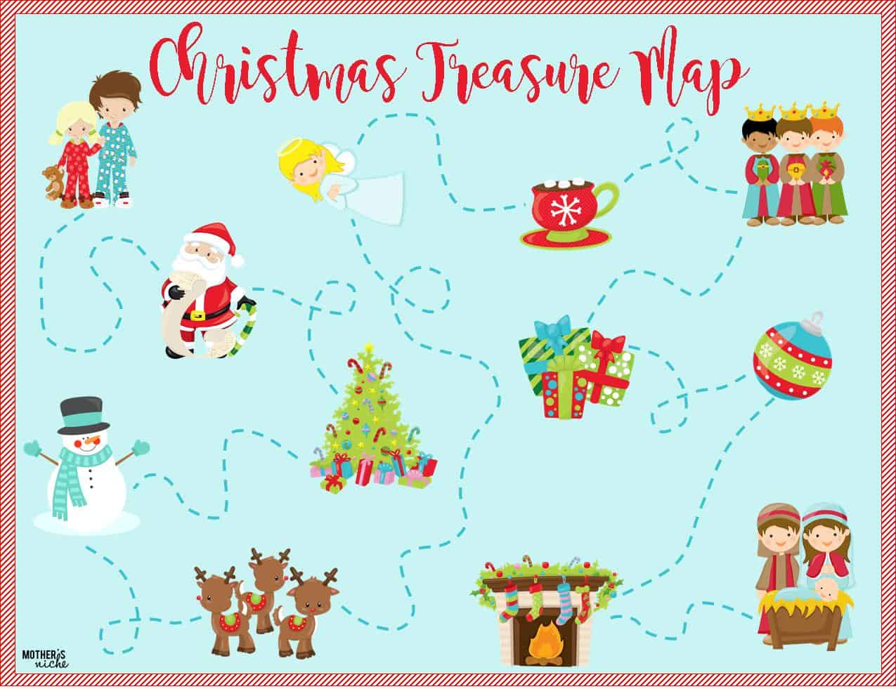 christmas treasure map free printable map and clues