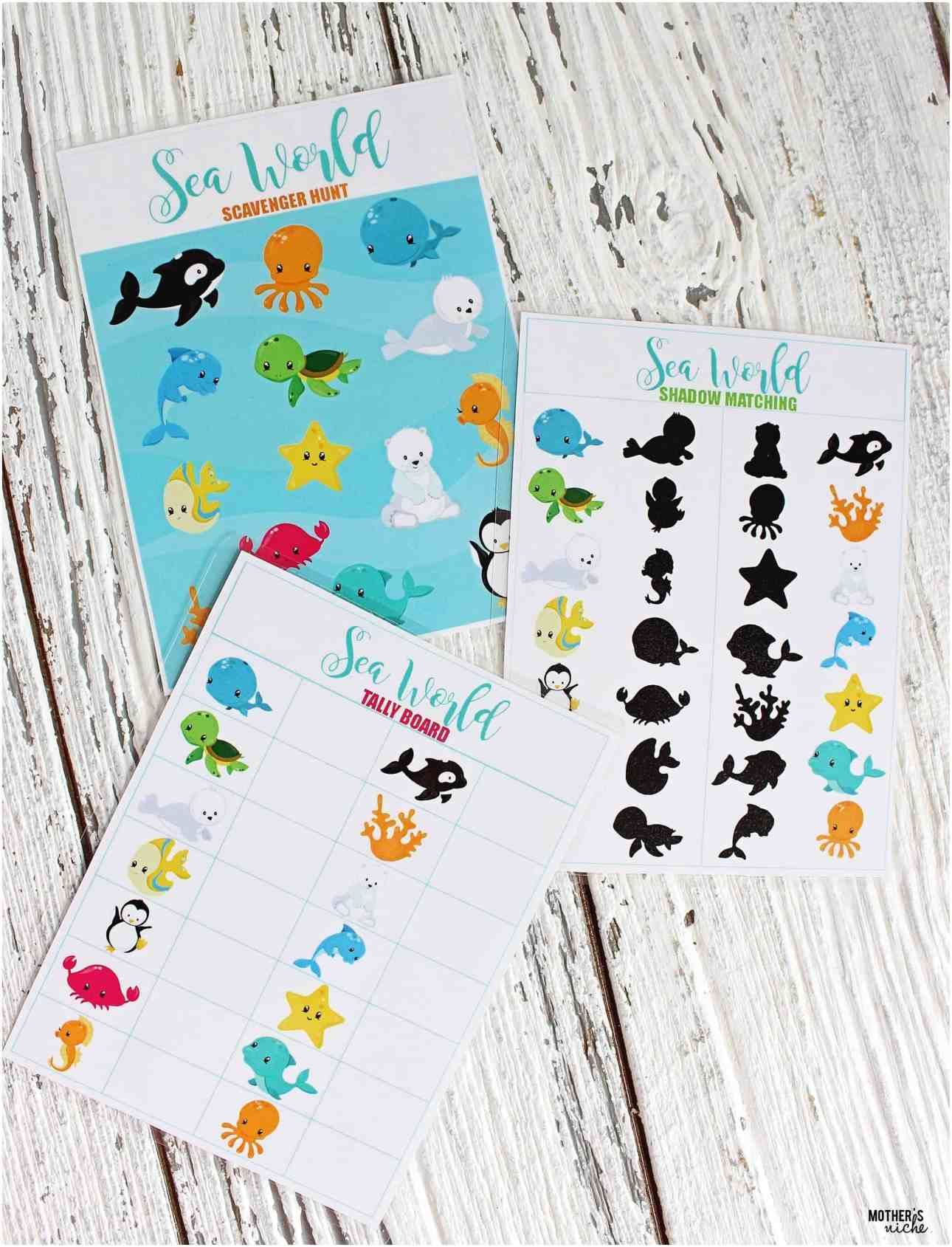 sea world activity printables