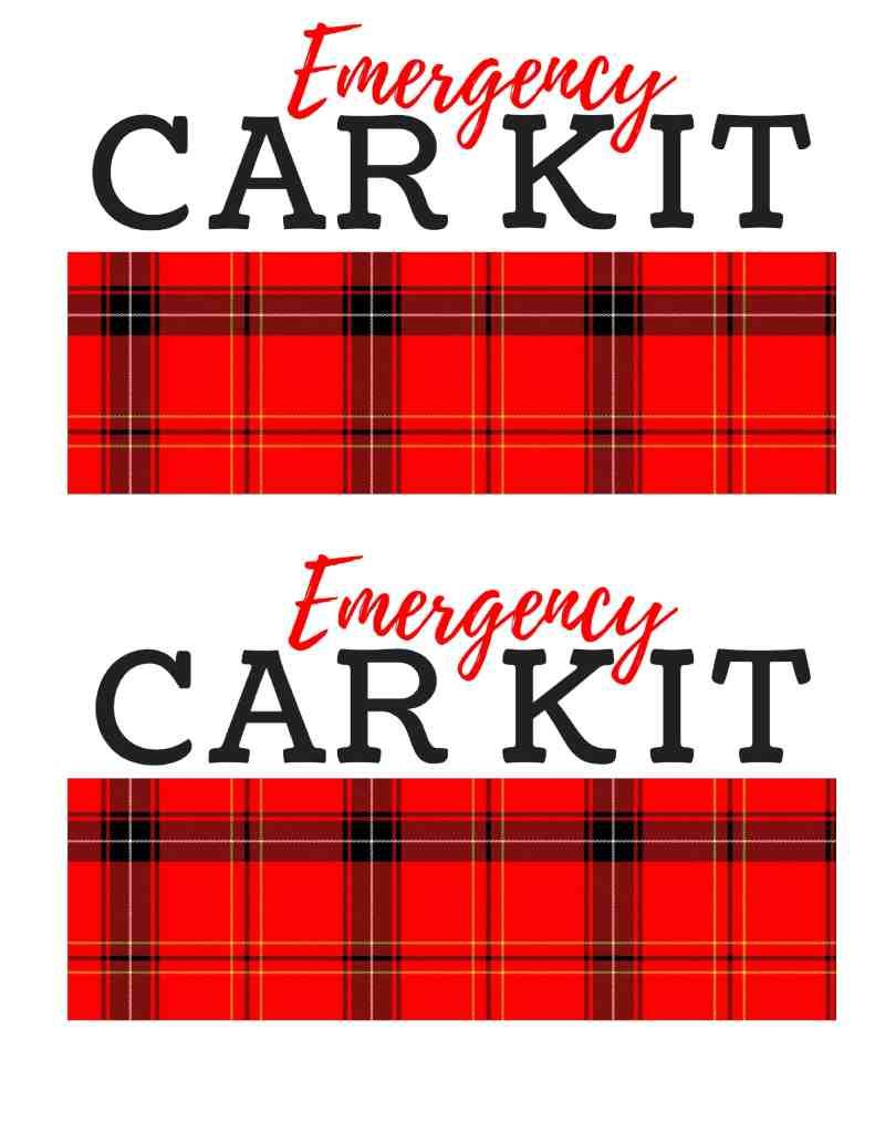 Emergency Car Kit Printables