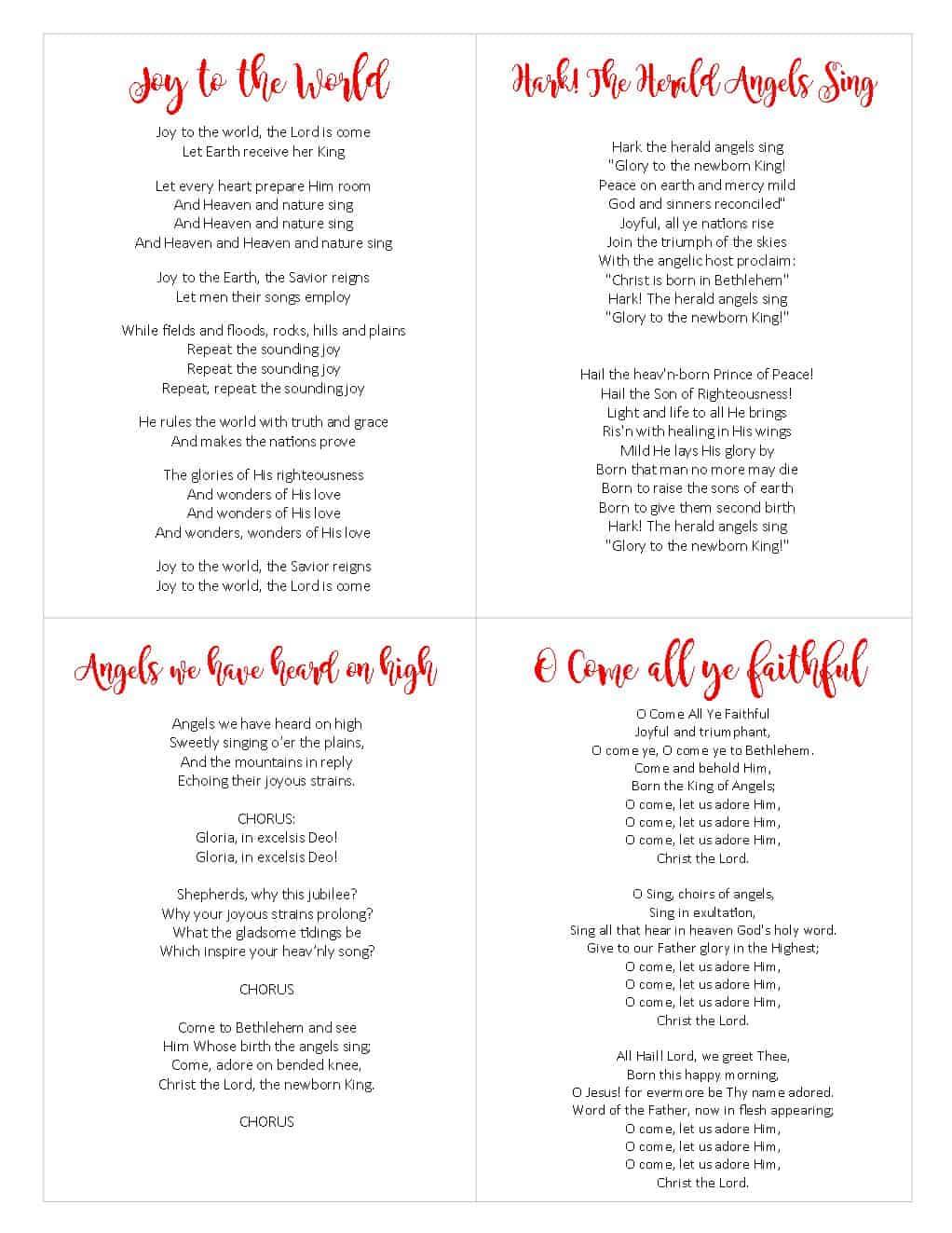 printable christmas carol songbook