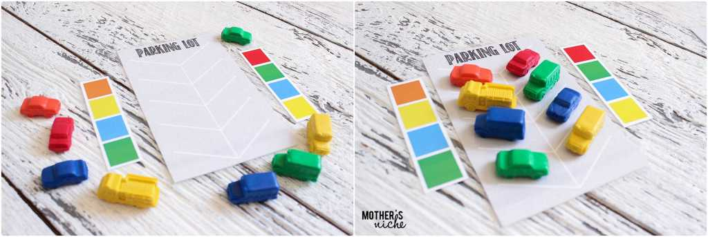 PARKING LOT for toys and cars. Sorting and color matching games for toddler