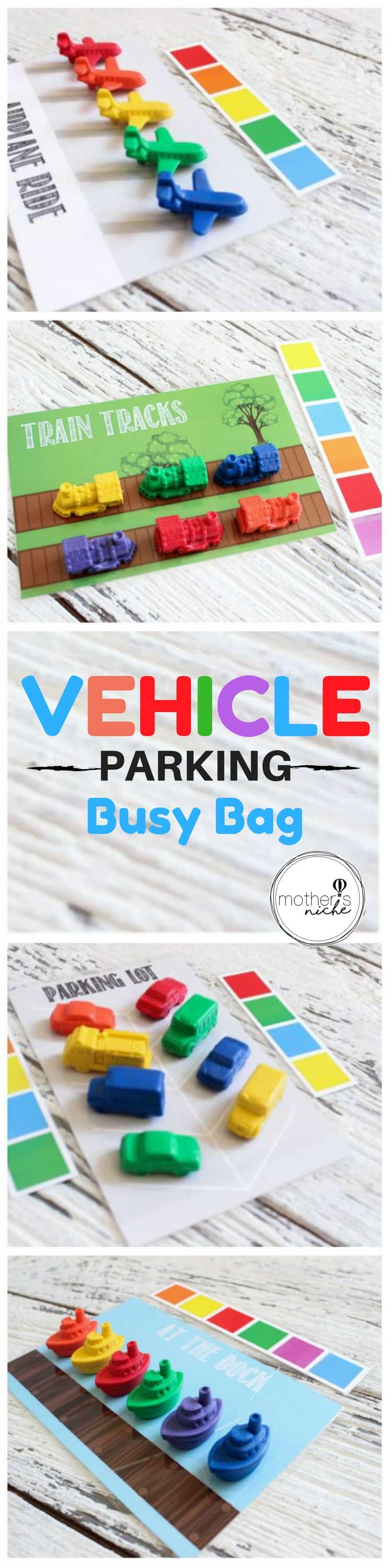 Busy Bag for parking Cars, boats, planes and trains! LOVE!