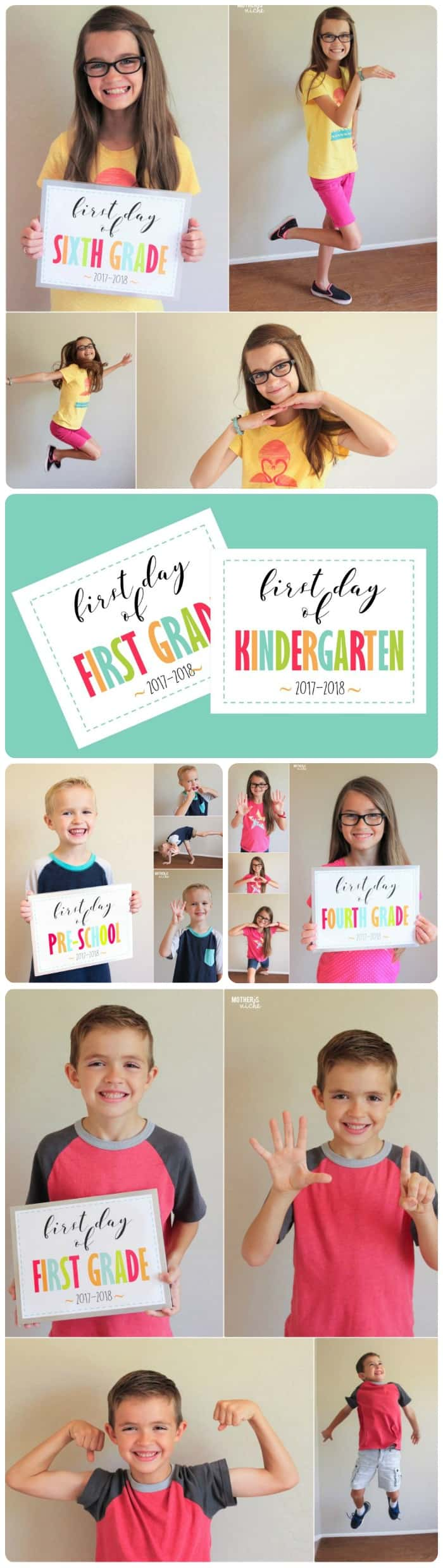 First Day of Kindergarten Sign up through 12th grade sign