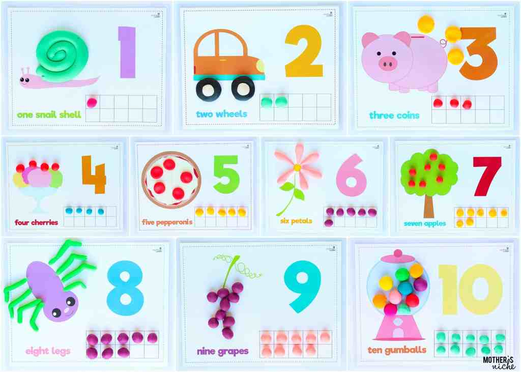 Counting Play dough mats for toddlers and preschoolers