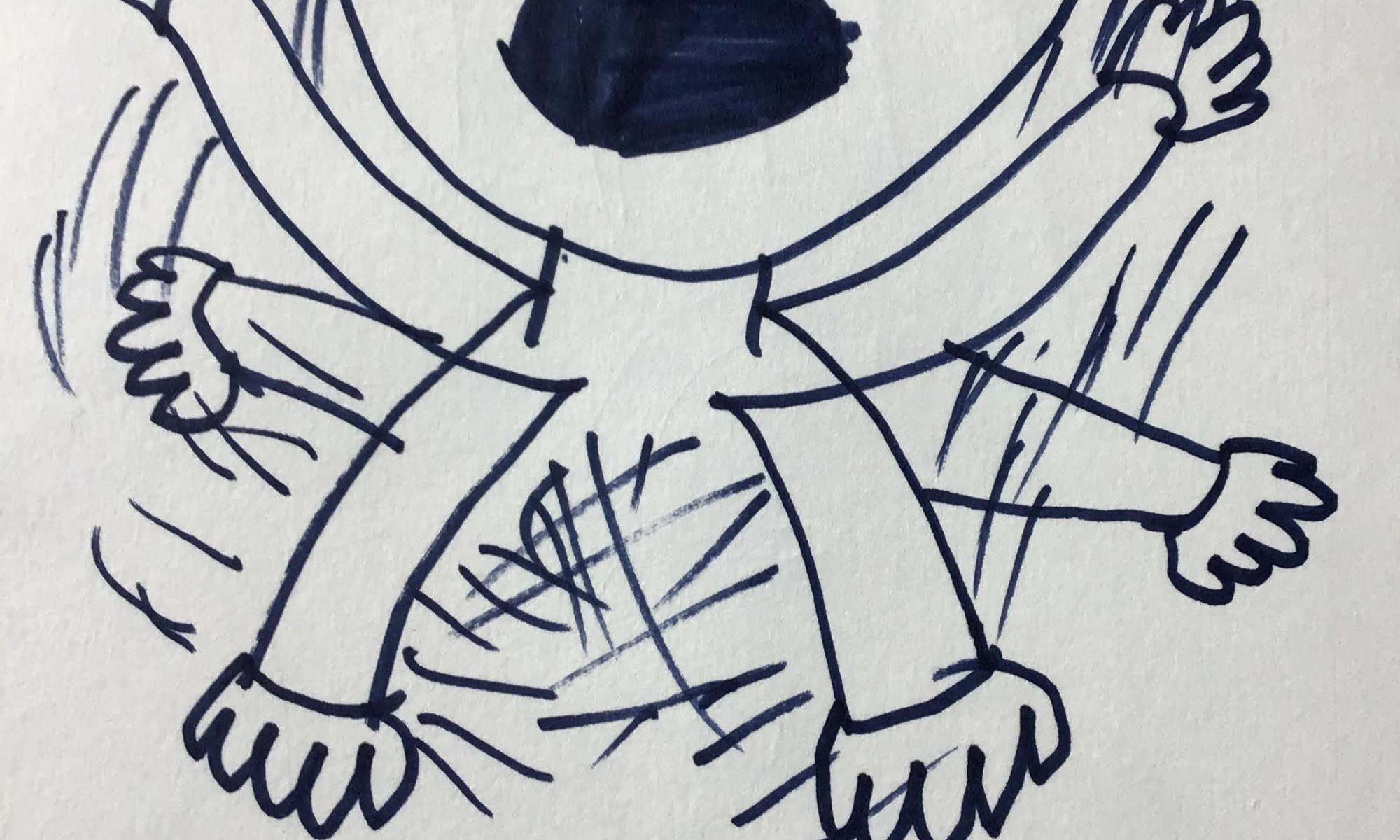 a child's drawing a person experienceing panick, with arms waving and distraught face
