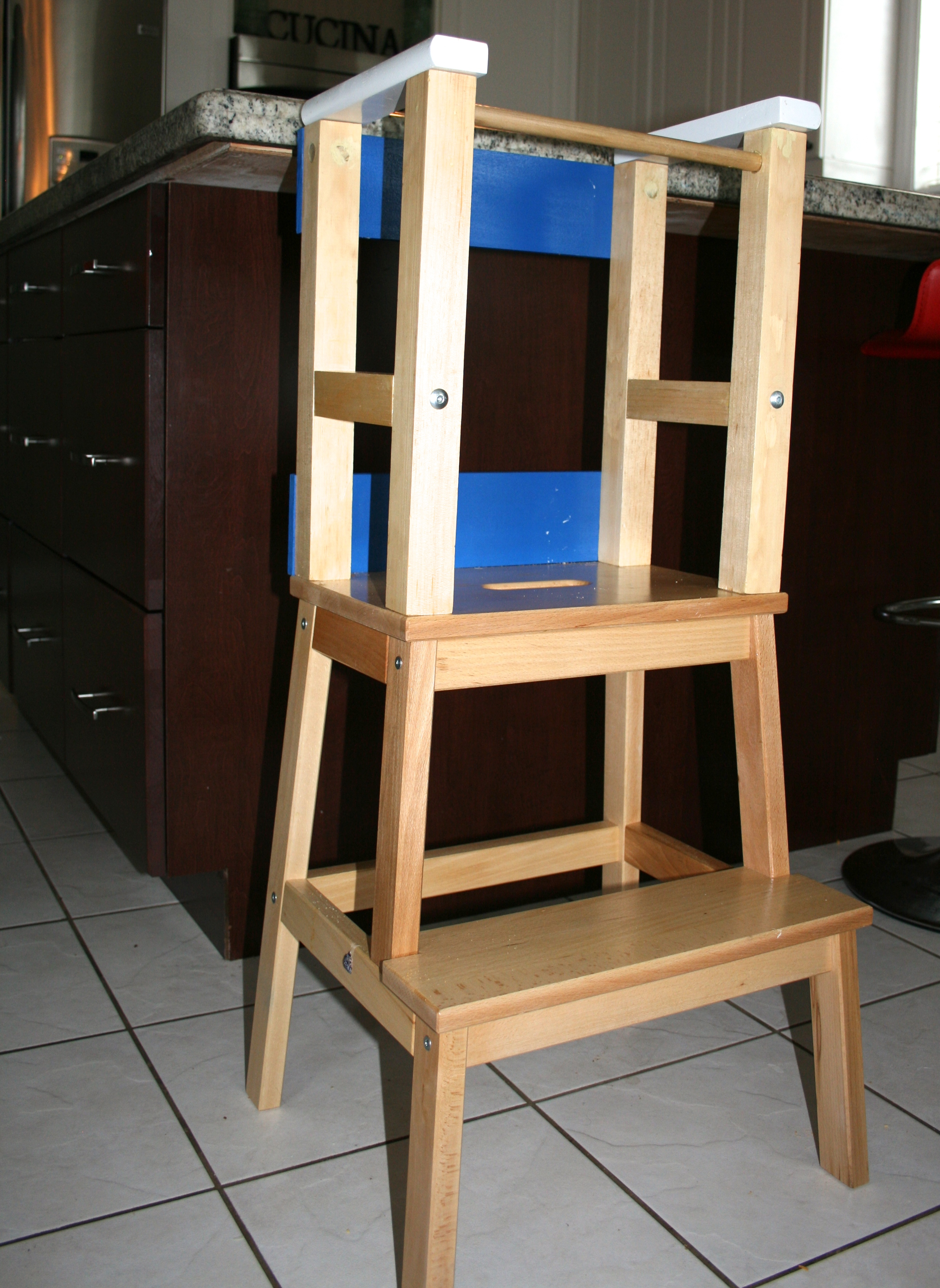ikea kitchen step stool prefab outdoor grill islands he climbs – so i let him…sorta. diy learning tower ...