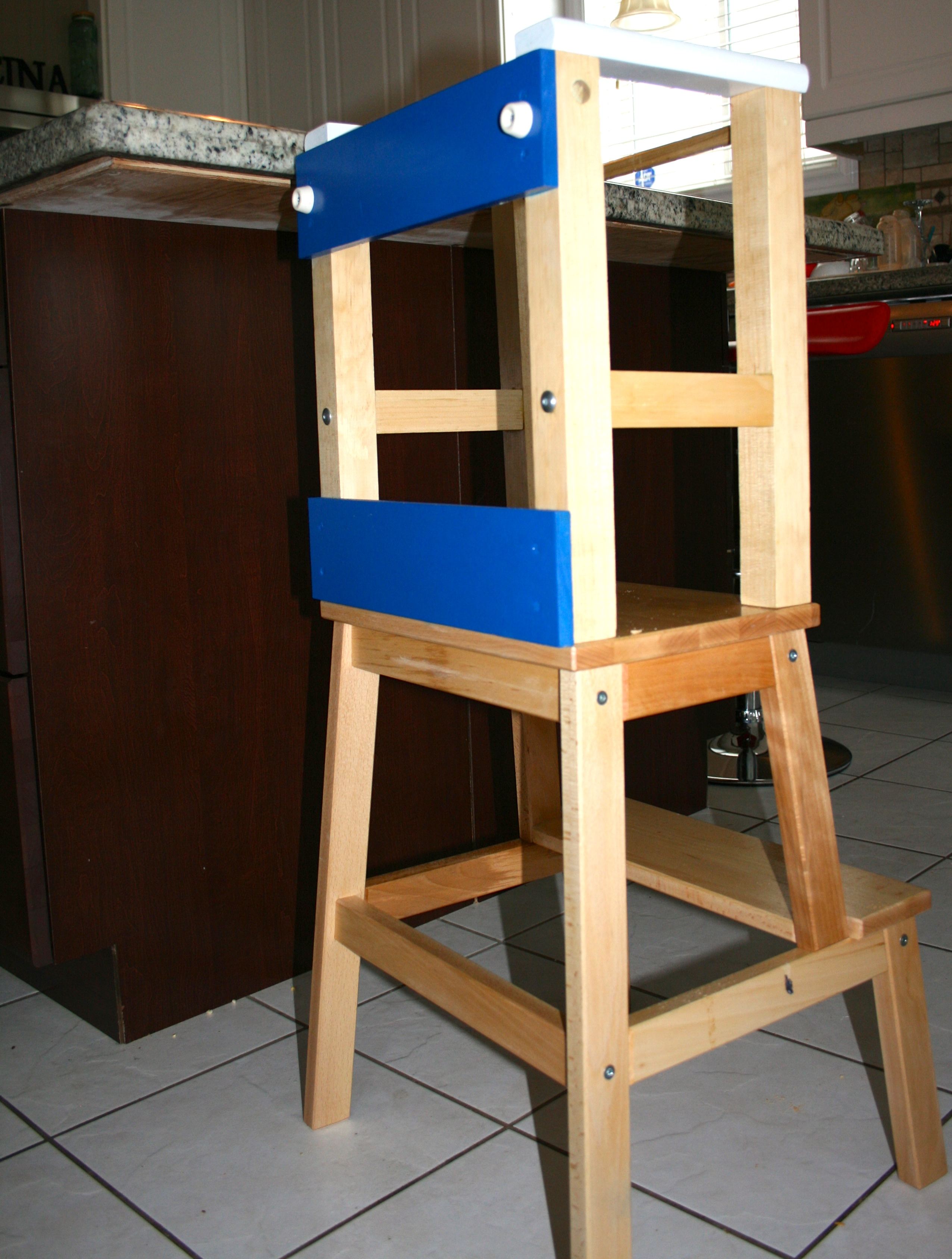 kitchen step stool cabinet packages he climbs – so i let him…sorta. diy learning tower ...