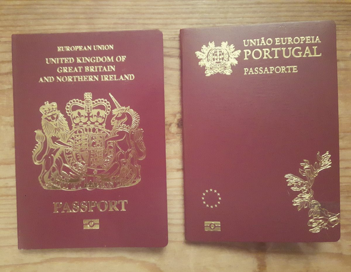 Brexit - image shows UK and Potuguese passports