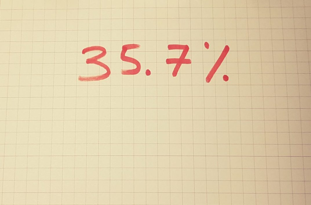 Fluent Active Bilingual - number 35.7% written in red pen on graph paper