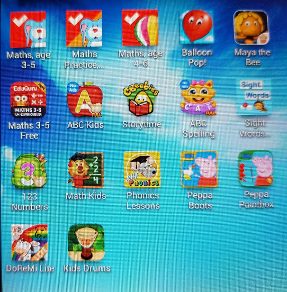apps - various languages - tablet screen showing app icons for learning apps