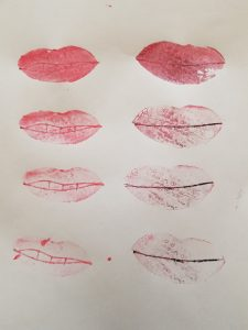 Lip potato stamps after printed