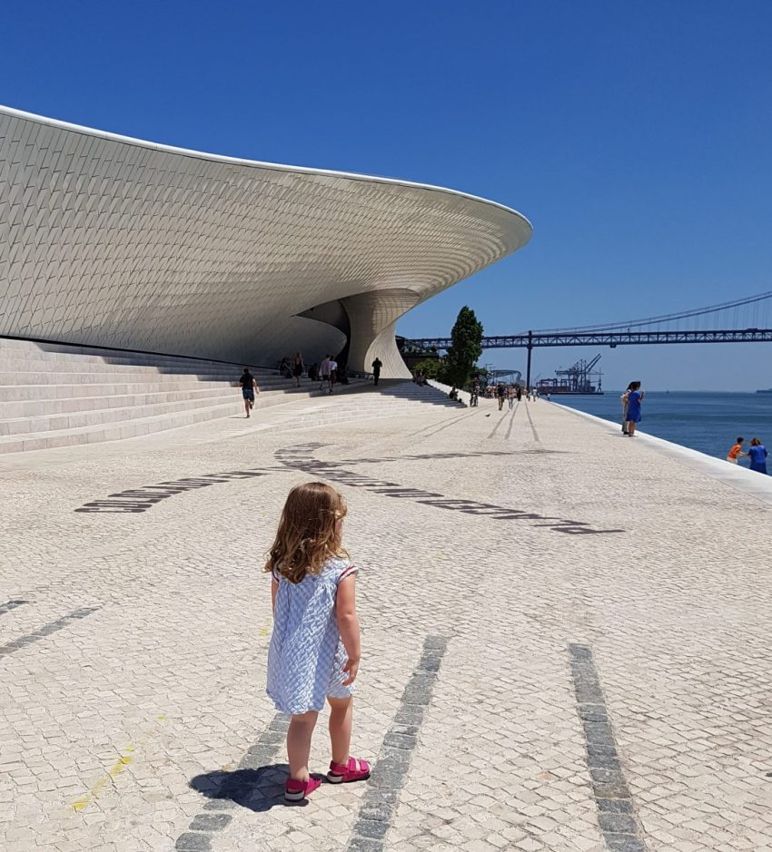 At the entrance of the MAAT museum in Lisbon