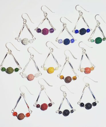 Sterling Silver Chandelier Crystal & Lava Diffuser Earrings