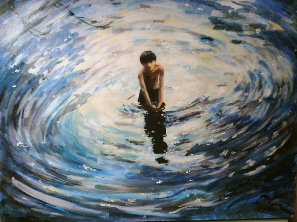 painting of boy in swirl of water