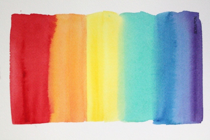watercolor of a rainbow rainbow flag