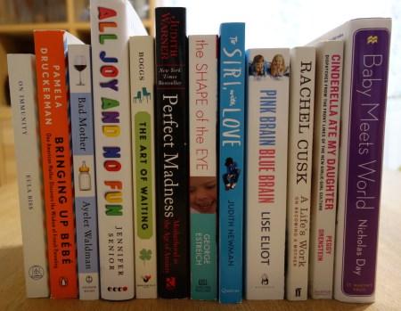 various parenting books on shelf