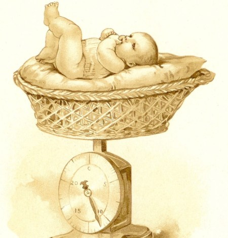 infant being weighed in a basket