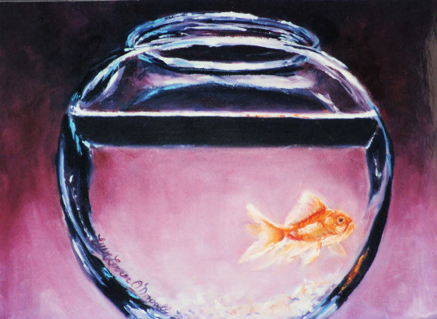single goldfish in glass bowl in front of ominous purple background