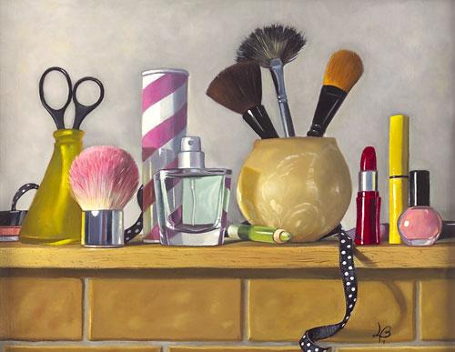 makeup placed on dresser