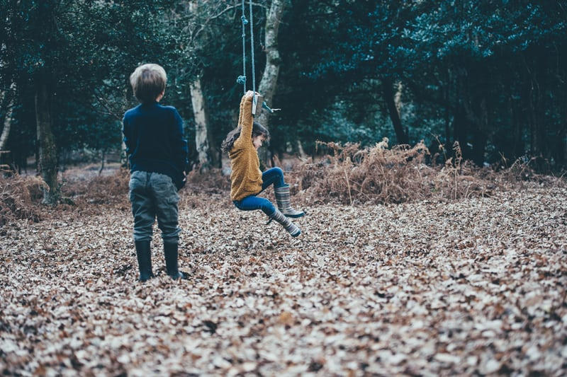 One boy looking on as another kid hangs on to a swing with arms with autumn leaves on the ground