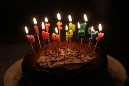 chocolate cake with lighted happy birthday candles