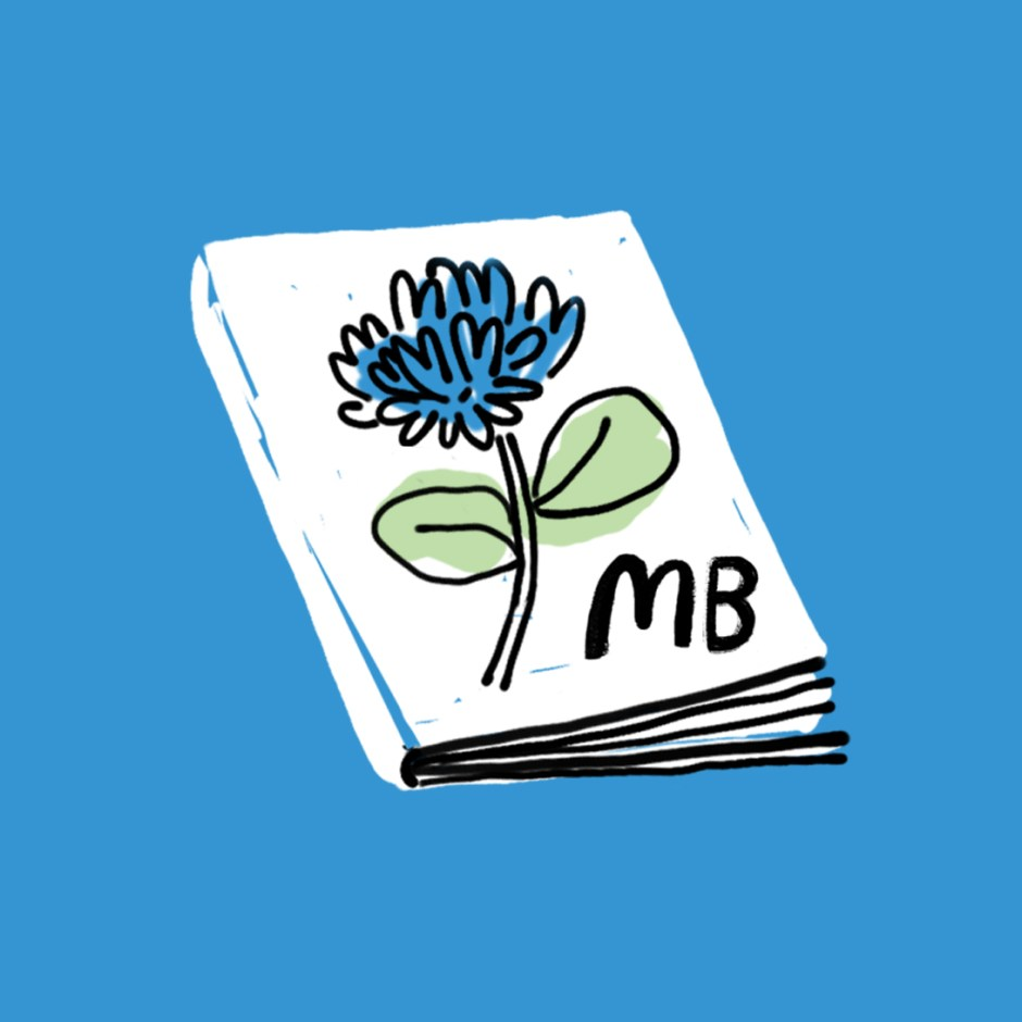 book with flower and Motherwell Books icon