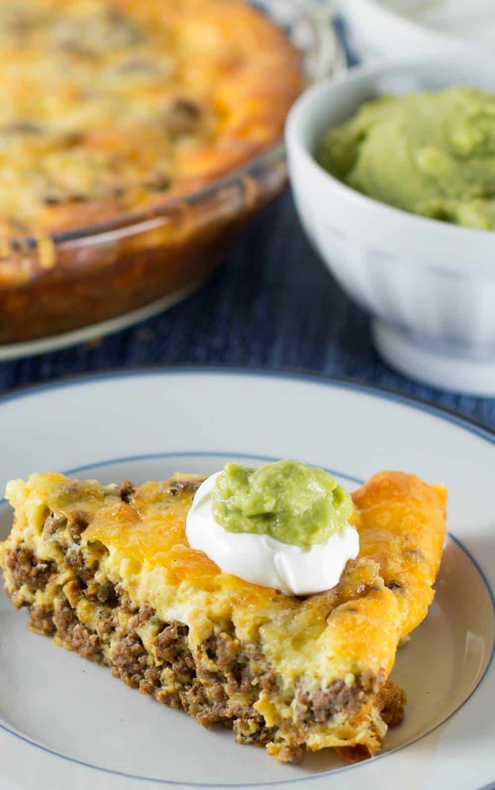Crustless low carb taco pie with toppings| Mother Would Know