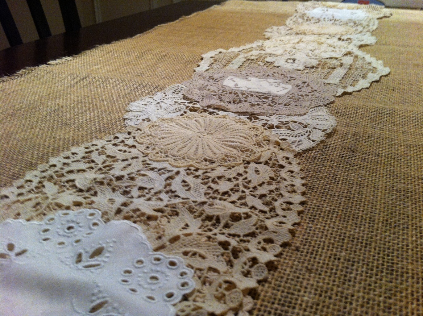 Burlap And Lace Table Runner MotifBrophy