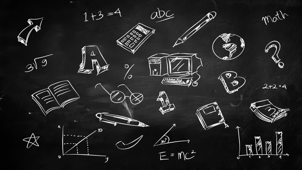 education chalkboard doodles stock