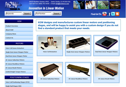 H2W Linear Motion Control Website