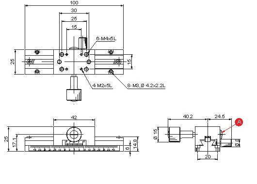 manual dovetail, rack and pinion x-axis long stroke