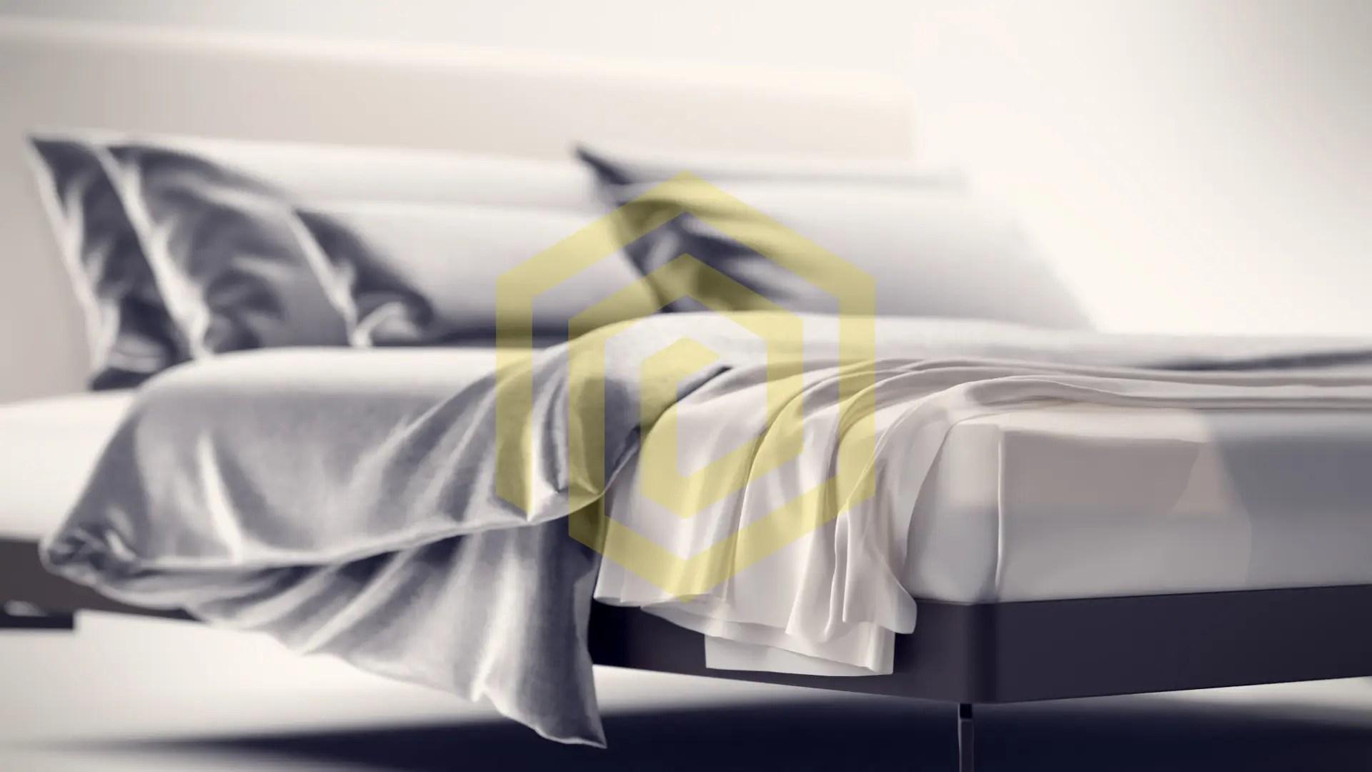 Nahaufnahme mit Tiefenschäre und einem F-Stop von 2, Produktvisualisierung Bett