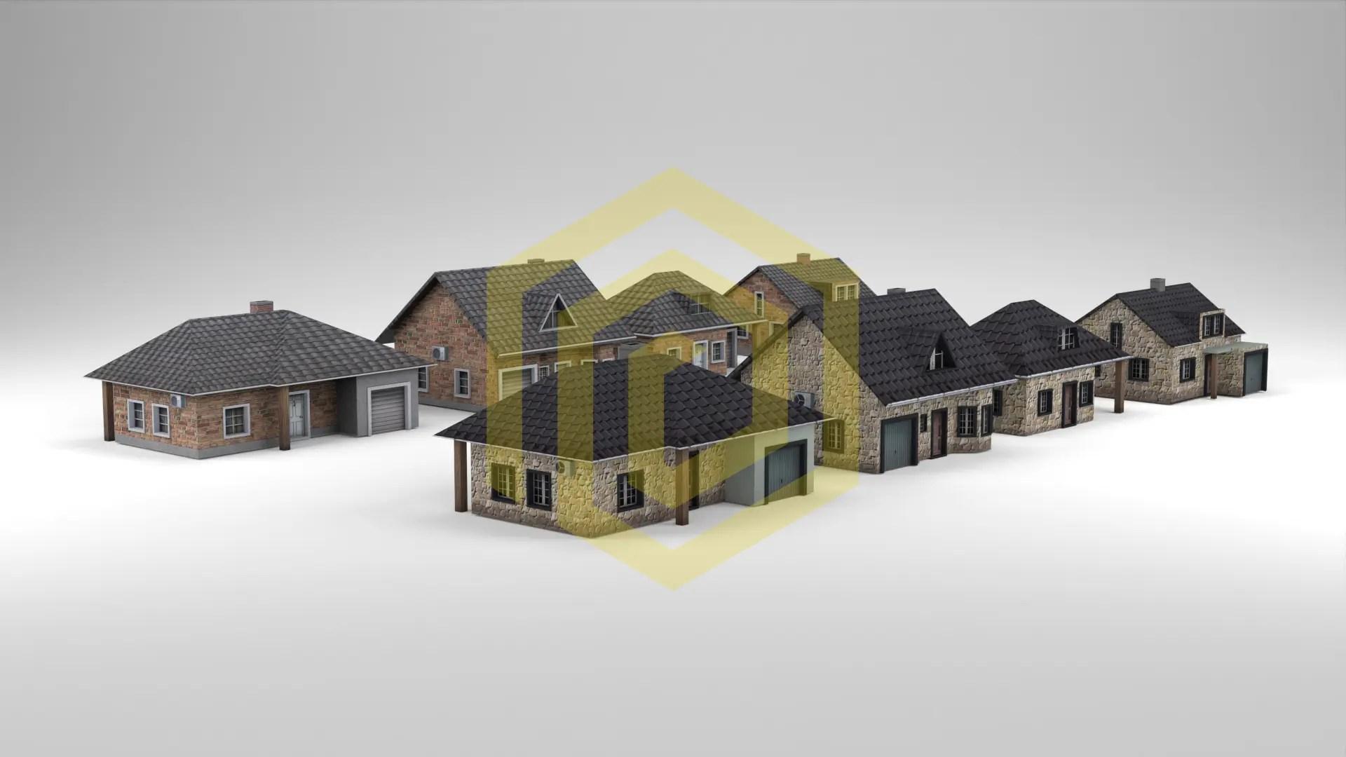 Architektur Visualisierung in Weißraum low-poly