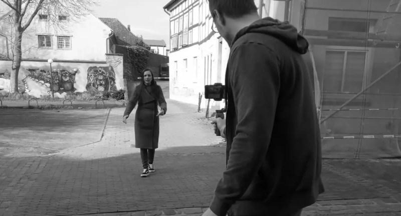 Sascha Linderkamp und Anna Klatsche beim Videodreh