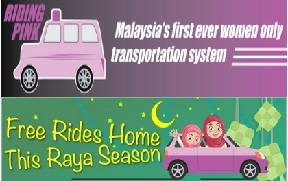 Riding Pink and Bosch to Offer Free Rides for the Raya Festive Holidays women female ride sharing hailing in Malaysia