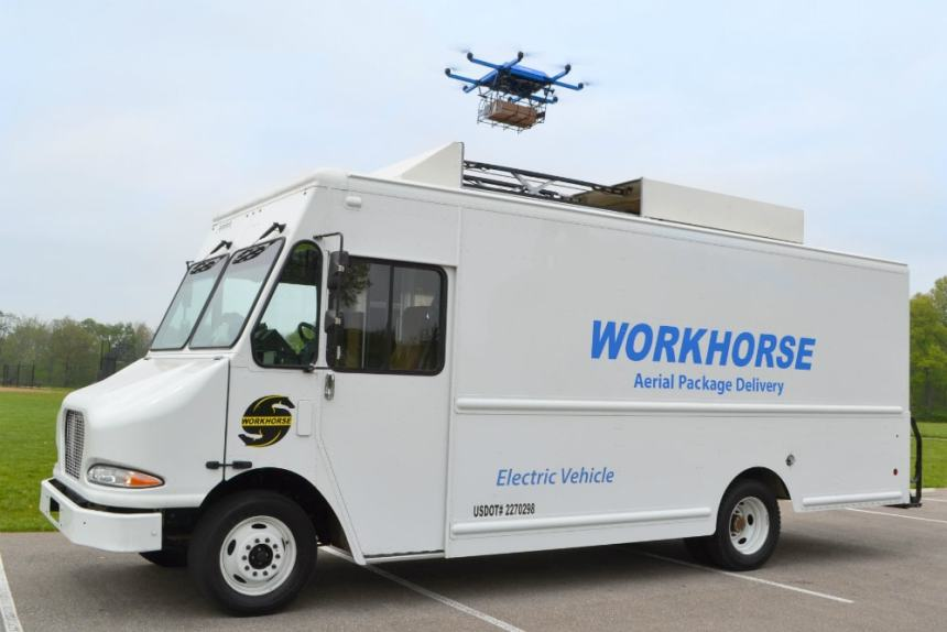 Workhorse to Showcase CES 2018 low delivery platform electric van integrated UAV Drone Horsefly urban logistics last mile delivery
