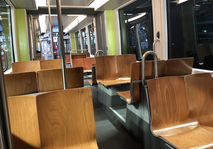 Bombardier Unveils New FLEXITY Zurich electric Tram Design interior urban mobility