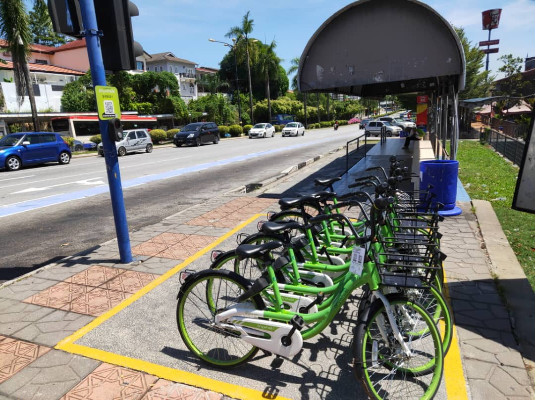 Anywheel bicycles sharing in Shah Alam proper bike parking bays by MBSA